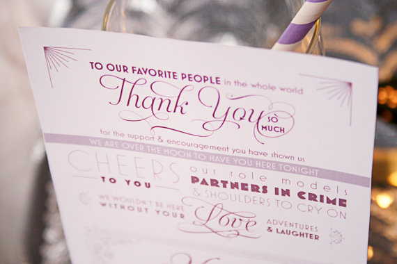 thank you menu (via Ways to Thank Parents at Your Wedding)