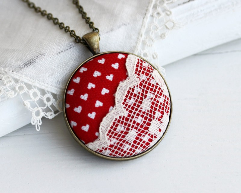 lace pendant necklace with red fabric and white hearts by the whirlwind | via emmalinebride.com | valentine jewelry etsy