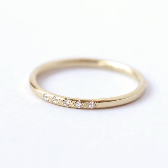 thin pave diamond ring | handmade wedding bands | http://emmalinebride.com/jewelry/handmade-wedding-bands/