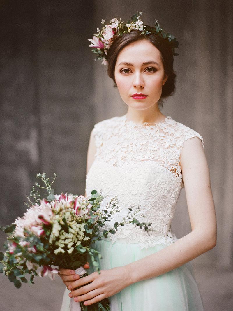 A stunning three piece wedding dress!  By Milamira Bridal. | two-piece wedding dresses | http://emmalinebride.com/bride/two-piece-dresses-weddings/