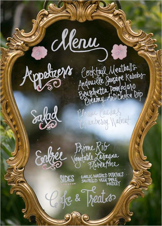 thrift store mirror with paint to make a wedding sign