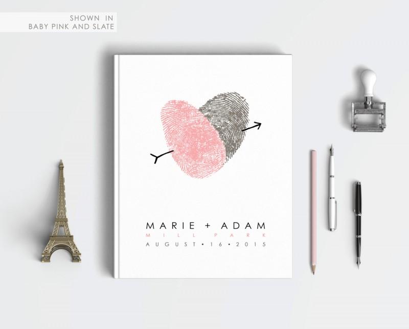 thumbprint heart guest book by flutterbye prints