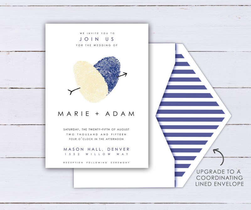 thumbprint wedding invitation