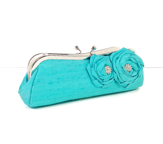 bridal clutch bags - tiffany blue for something blue