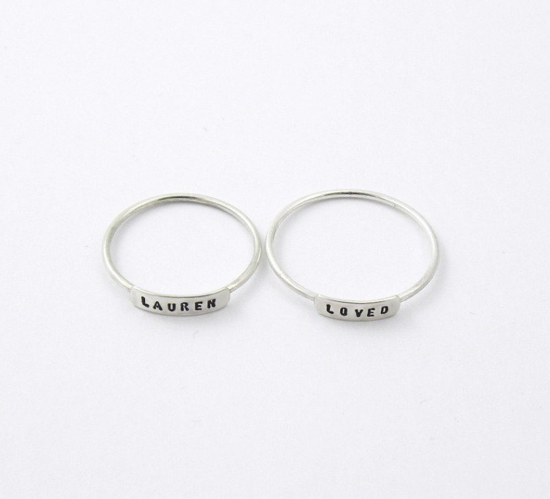 tiny stacked rings with personalization for bridesmaids by silvermore