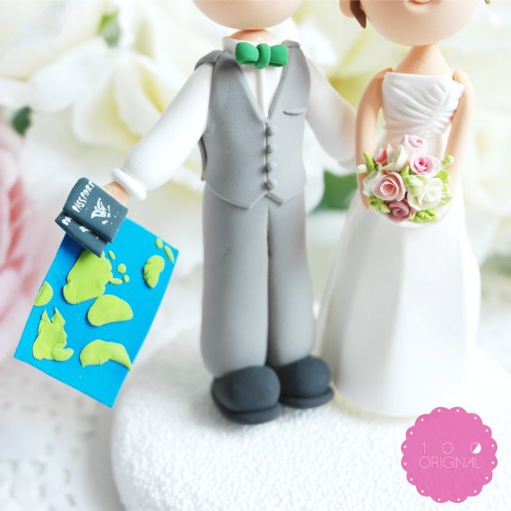 travel themed wedding cake topper