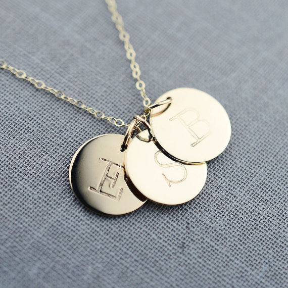 triple solid gold initial necklace via 27 Amazing Anniversary Gifts by Year