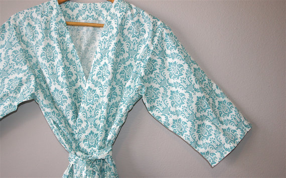Bridesmaid Robes (by Modern Kimono) - Turquoise width=570 height=355 class=