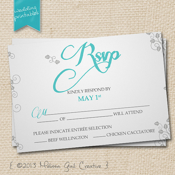DIY Printable Wedding Invitations (by Melissa Gail Creative) - turquoise