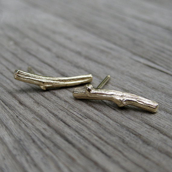 twig stud earrings - nature inspired jewelry