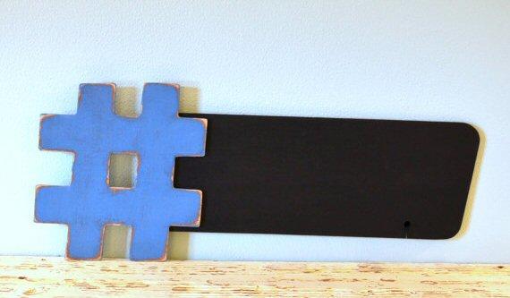 5 Ways to Embrace Social Media at Weddings - hashtag chalkboard by grace graffiti
