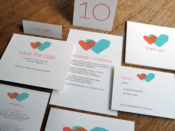 two hearts printable wedding invitations