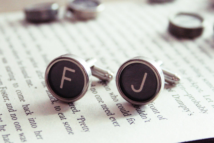 typewriter initials | Custom Cufflinks Groomsmen Gifts | via EmmalineBride.com