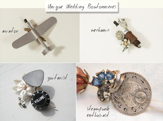 unique wedding boutonnieres - custom boutonnieres by the ritzy rose