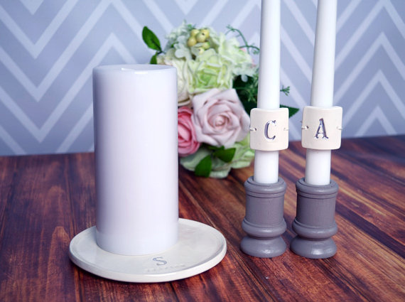 Personalized unity candle set (by Susabella) - Unity Ceremony Ideas width=570 height=425 class=