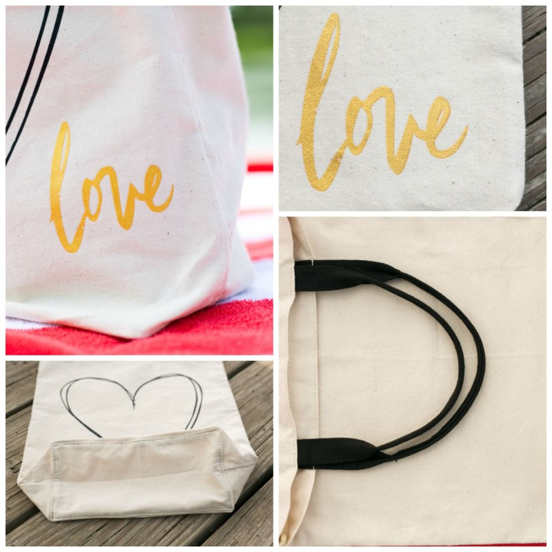 up close of love heart tote bag