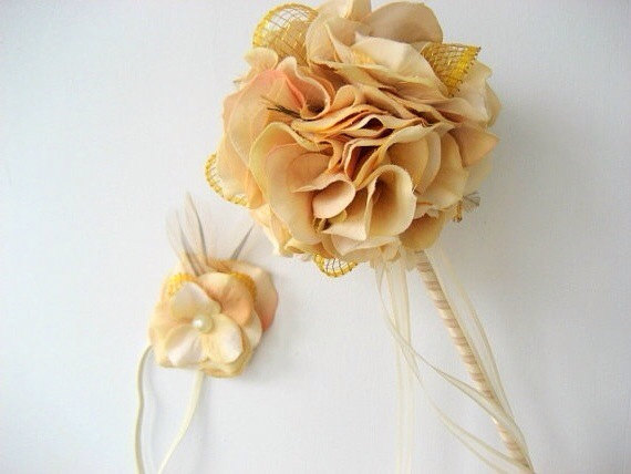 victorian flower girl wand with matching headband