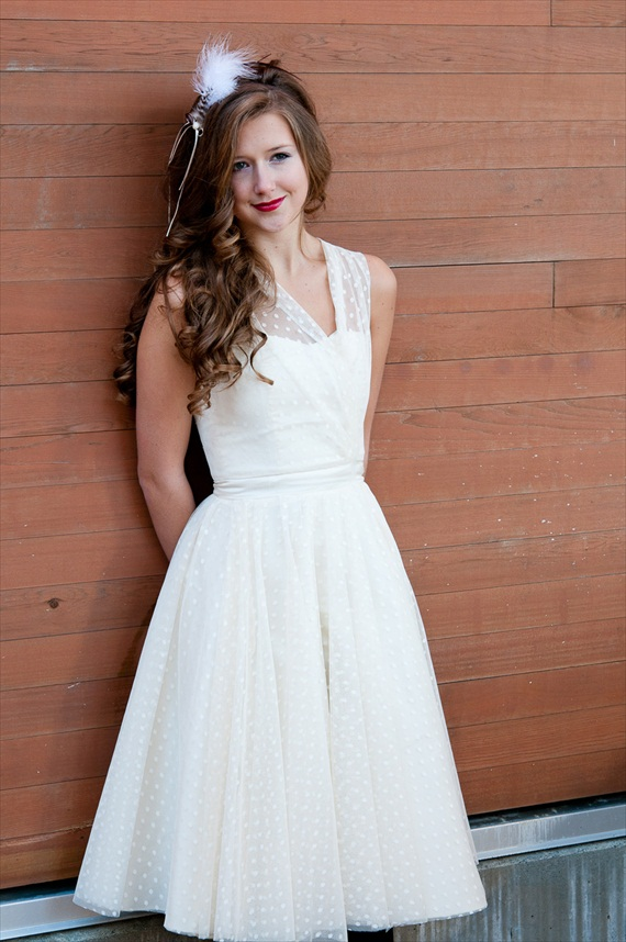vintage 1950s polka dot dress (by Magnolia Couture, photo by Brittany Bingham via 3 New Wedding Finds on Emmaline Bride)