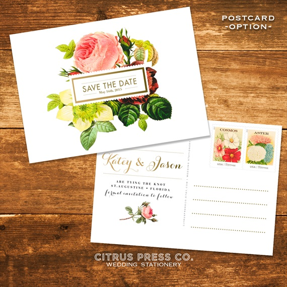 Botanical Vintage Rose Save the Dates