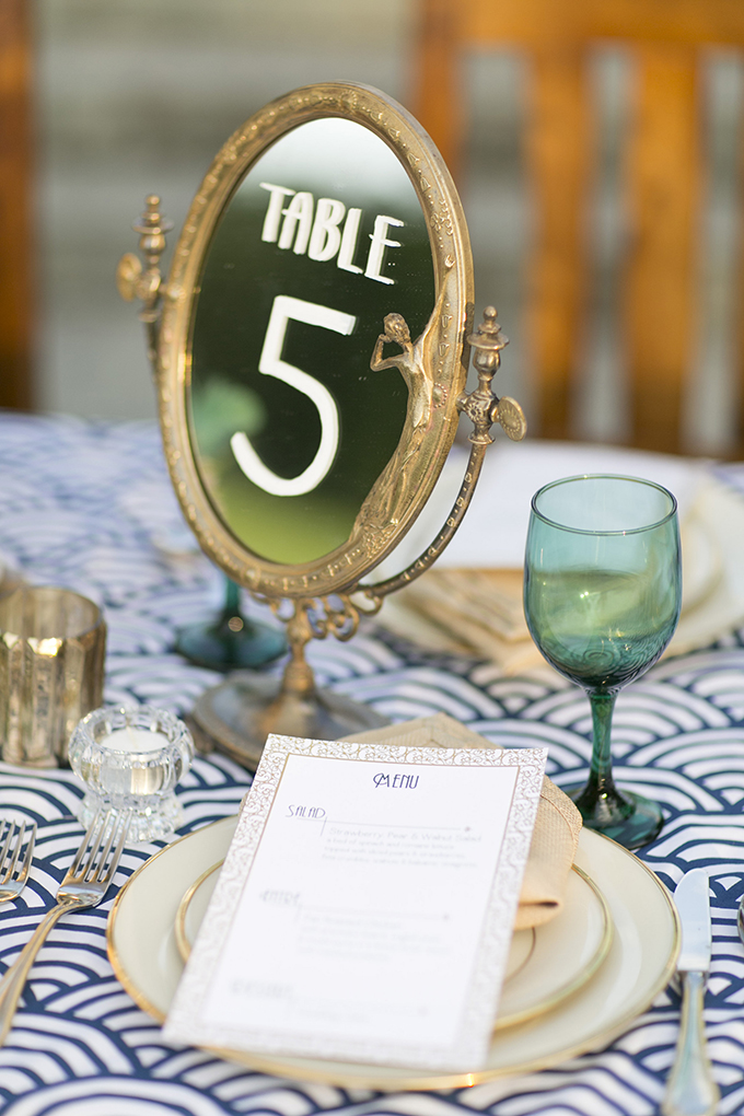 Vintage Mirror Table Number