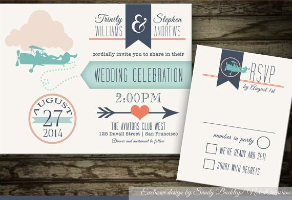 vintage plane printable wedding invitations