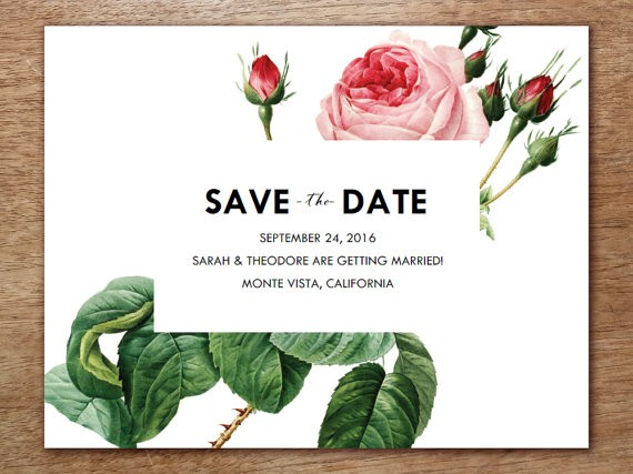 vintage roses save the date and printable wedding invitations