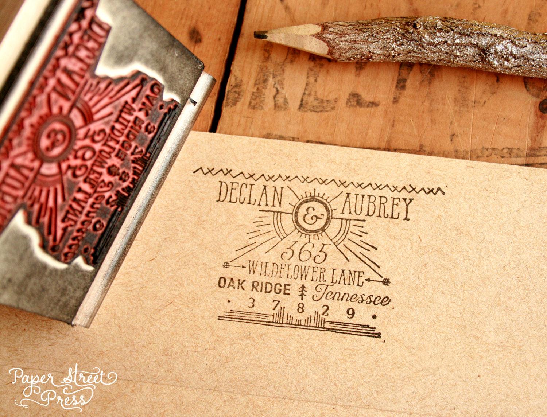 vintage rustic gatsby return address stamp