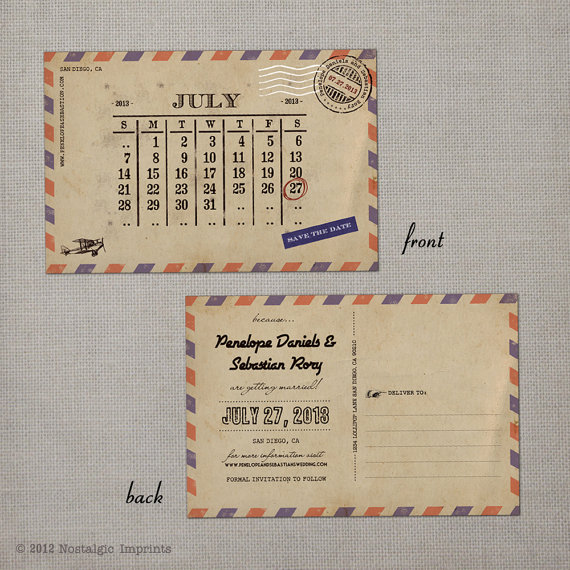 vintage save the dates - airmail