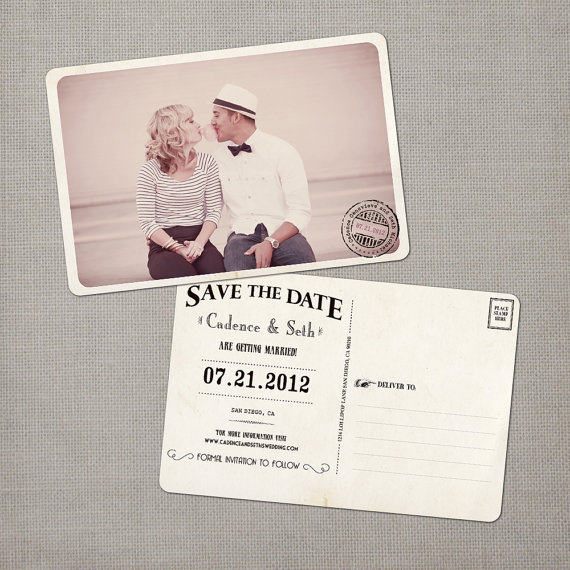 vintage save the date postcards - bubble gum