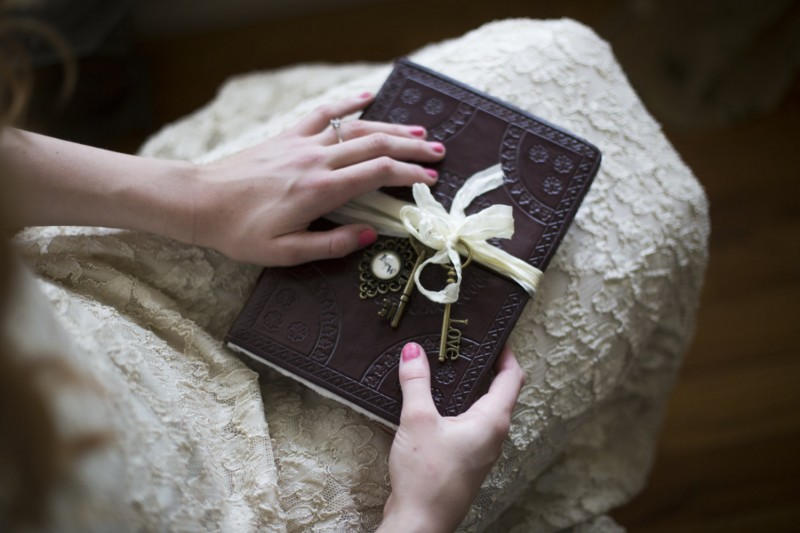 vintage style wedding guest book by trusted