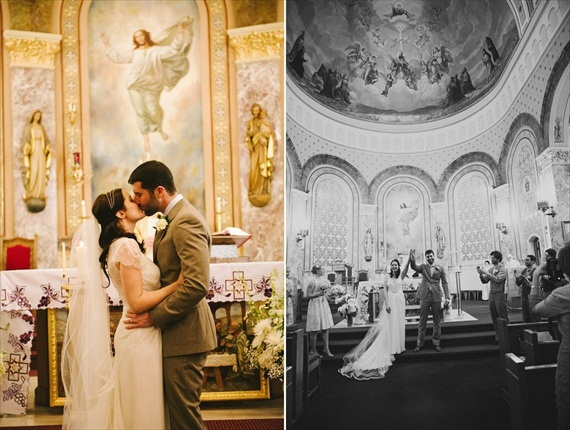 vintage wedding - image of bride and groom's first kiss in church