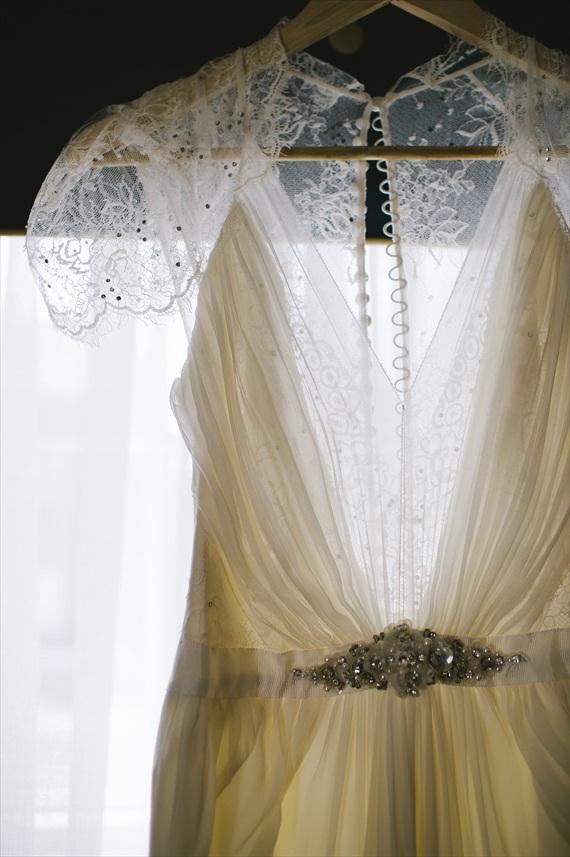 vintage wedding - image of bride's dress