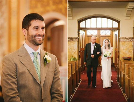 vintage wedding - image of groom watching bride walk down aisle
