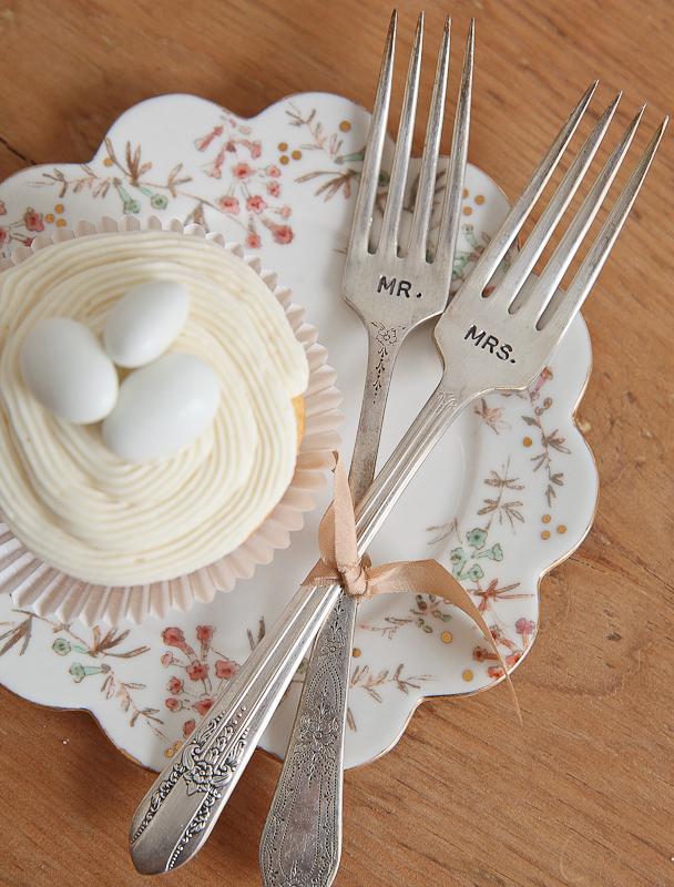 Handstamped Vintage Forks Weddings | Wooden Hive | https://emmalinebride.com/2015-giveaway/forks-weddings-giveaway/