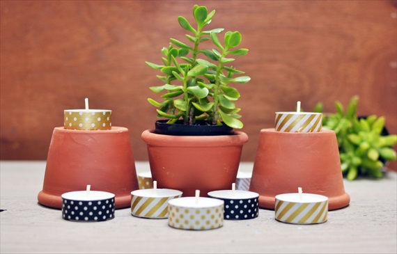 washi tape tealight candles via DIY Washi Tape Ideas