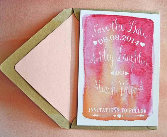 Watercolor Save the Date Cards