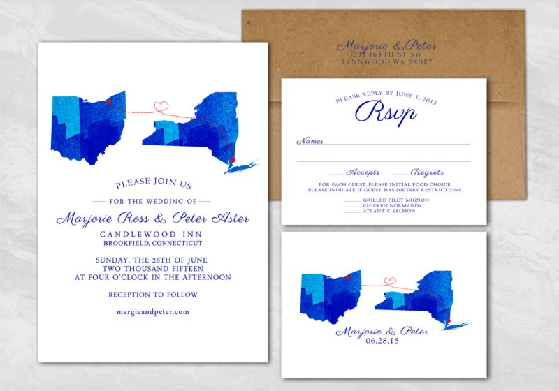 Custom State Wedding Invitations | https://emmalinebride.com/invites/state-wedding-invitations/