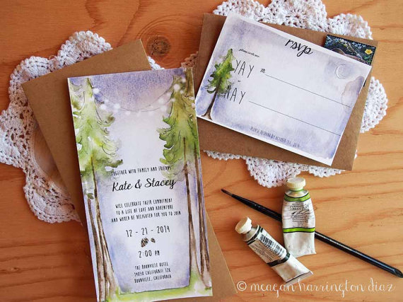 watercolor wedding invitations woodland forest