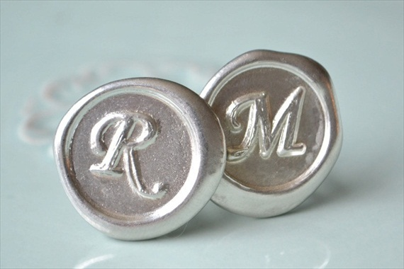 Wax Seal Cuff Links (by White Truffle Studio) - How to Use Wax Letter Seals via EmmalineBride.com