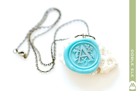 Wax Seal Monogram Necklace (by Doble Ele) - How to Use Wax Letter Seals via EmmalineBride.com