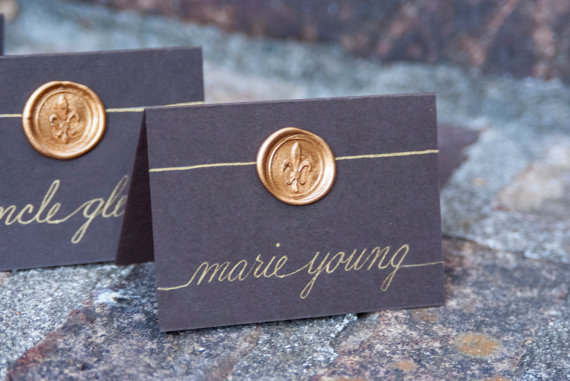 Wax Seal Place Cards (by Southern Calligraphy) - How to Use Wax Letter Seals via EmmalineBride.com