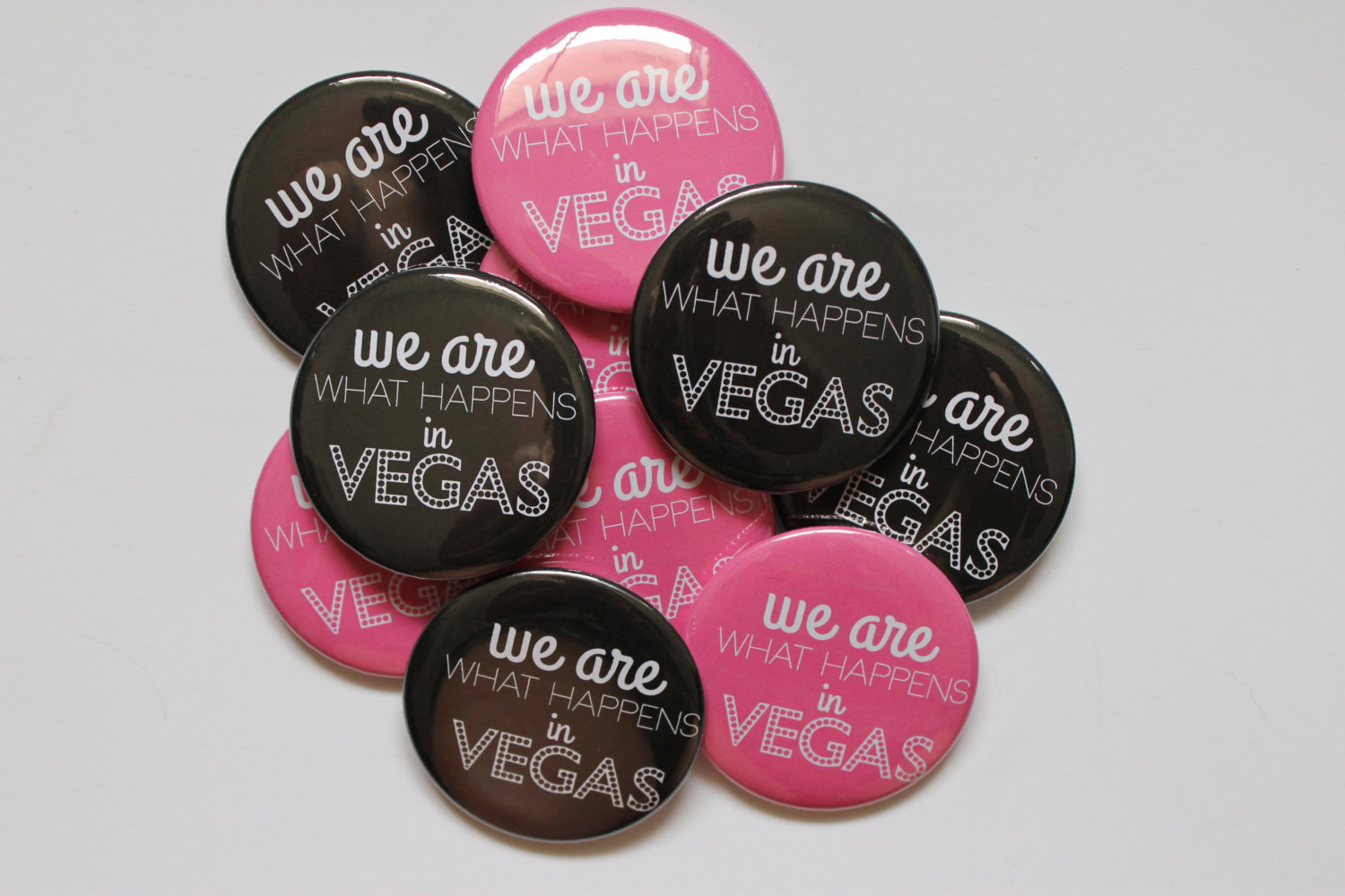 we are what happens in vegas by big yellow dog designs | fun bachelorette party ideas | http://emmalinebride.com/planning/fun-bachelorette-party-ideas/