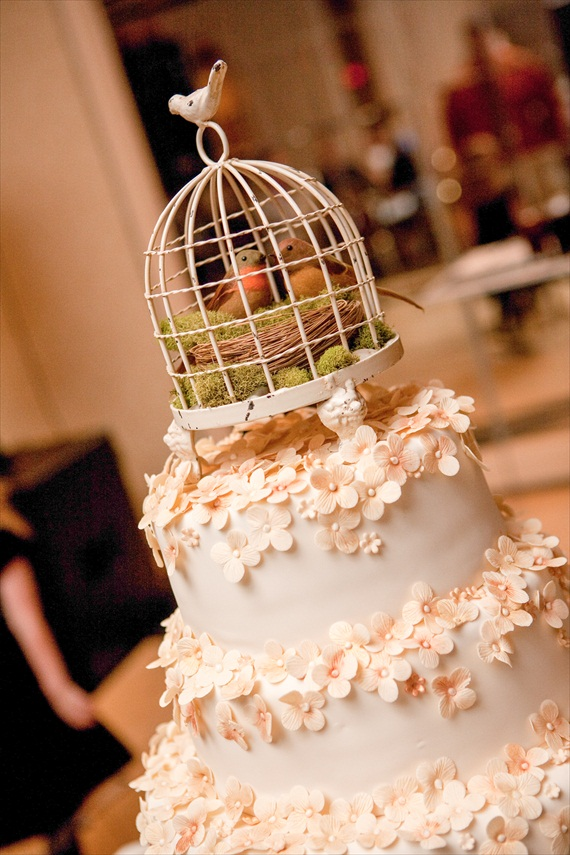Vintage Fall Wedding - bird cage cake topper