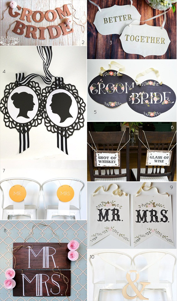 wedding chair signs emmaline bride