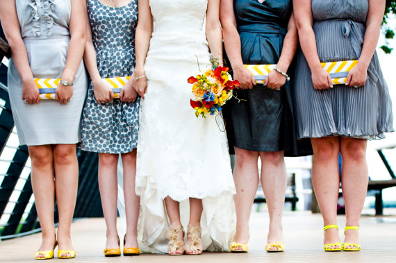 wedding clutch purses yellow and grey (photo: stephen govel, purses: allisa jacobs)