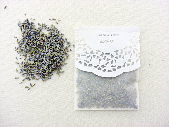Ceremony Exit Ideas: Tossing Lavender Packets (by Sepia Smiles)