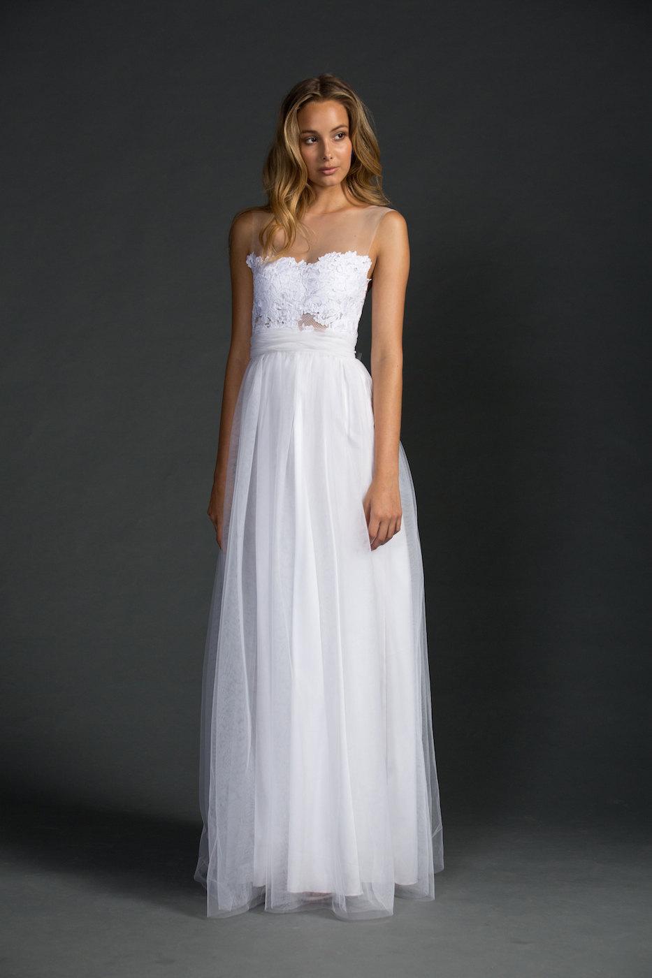 Dreamy Sheer Neckline Wedding Dress | via https://emmalinebride.com/bride/sheer-neckline-wedding-dress/ width=933 height=1400 class=