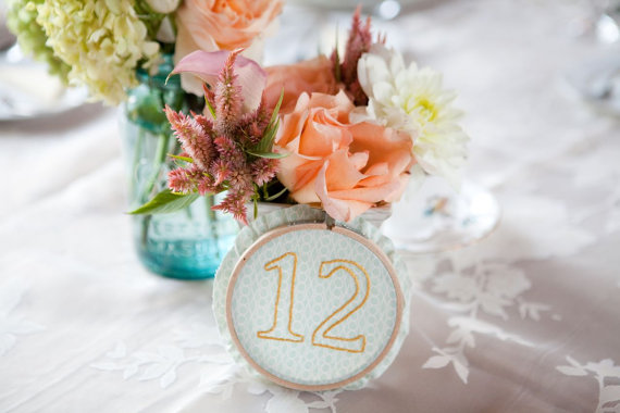 wedding embroidered table number wedding hoop art