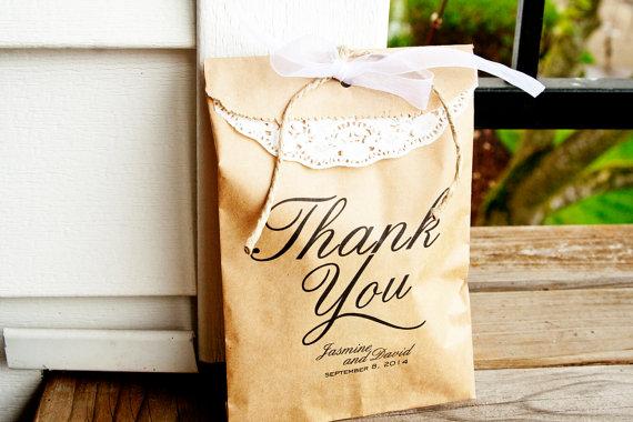 wedding favor bags - thank you (by mavora art and design)