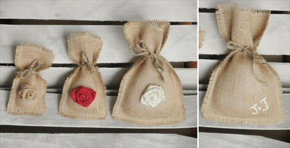 wedding favor containers - burlap favor bag